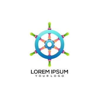 Ilustração do logotipo colorido do navio de controle