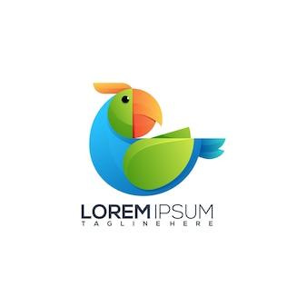Ilustração do logotipo colorido do papagaio