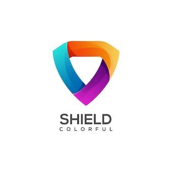 Ilustração do logotipo com escudo colorido gradiente