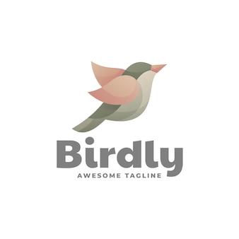 Ilustração do logotipo com gradiente colorido do pássaro