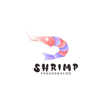 Ilustração do logotipo com gradiente de camarão colorido estilo