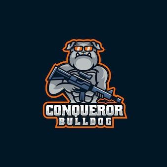 Ilustração do logotipo conqueror bulldog e esporte e estilo esportivo