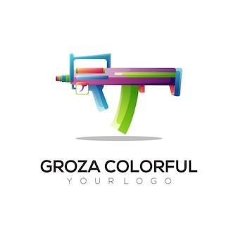 Ilustração do logotipo da arma gradiente colorido estilo