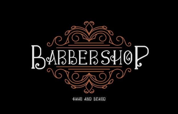 Ilustração do logotipo da barbearia de luxo vintage