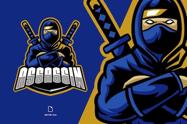 Ilustração do logotipo da bela mascote ninja esport