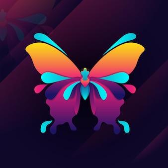 Ilustração do logotipo da borboleta touro gradiente colorido estilo