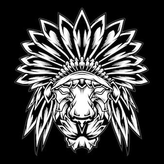 Ilustração do logotipo da cabeça do chefe índio leão preto e branco