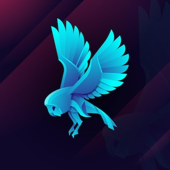 Ilustração do logotipo da coruja touro gradiente estilo colorido