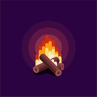 Ilustração do logotipo da fogueira de acampamento