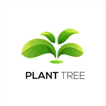 Ilustração do logotipo da folha de árvore gradiente colorido