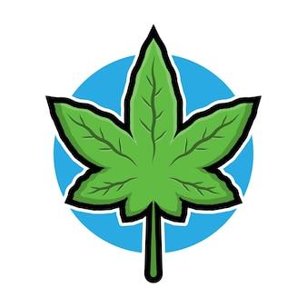 Ilustração do logotipo da folha de cannabis fofa