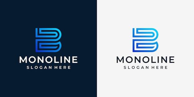 Ilustração do logotipo da letra b em lineart.logo e cartão de visita
