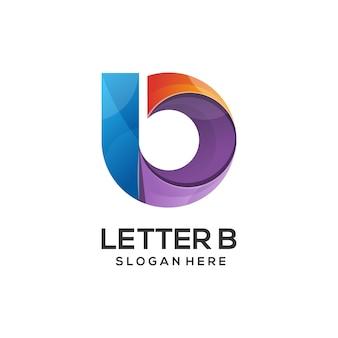 Ilustração do logotipo da letra b estilo gradiente colorido