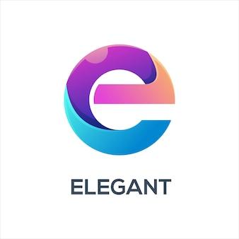 Ilustração do logotipo da letra e gradiente colorido