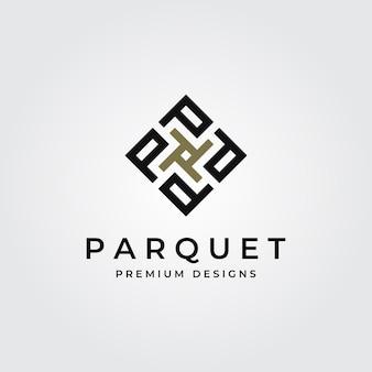 Ilustração do logotipo da letra p do piso em parquet
