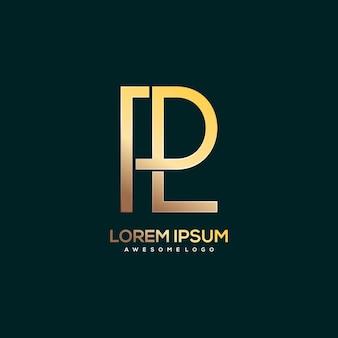 Ilustração do logotipo da letra pl luxo cor ouro