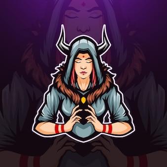 Ilustração do logotipo da mascote da bruxa com chifres