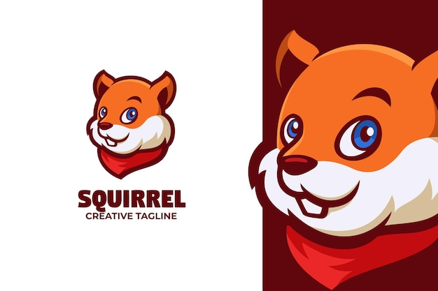 Ilustração do logotipo da mascote de desenho animado de esquilo engraçado