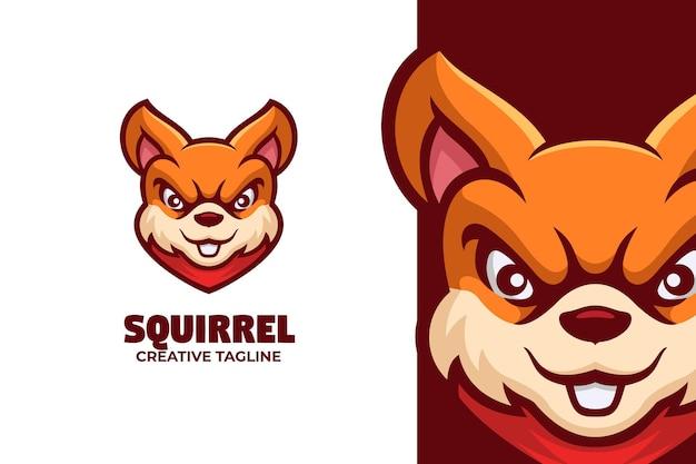 Ilustração do logotipo da mascote do esquilo dos desenhos animados