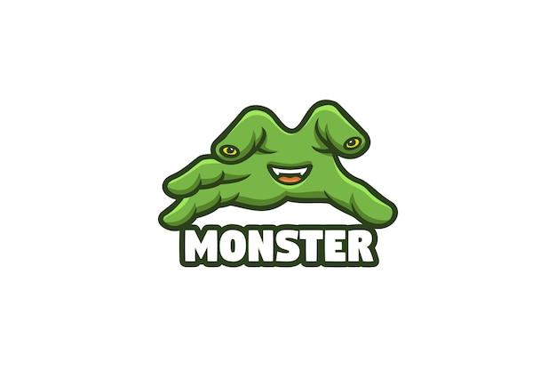 Ilustração do logotipo da mascote do halloween da mão do monstro