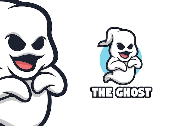 Ilustração do logotipo da mascote fantasma fofo branco