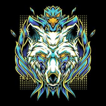 Ilustração do logotipo da mascote phoenix wolf