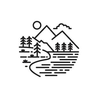 Ilustração do logotipo da montanha do estilo monoline