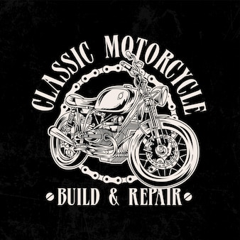 Ilustração do logotipo da motocicleta vintage com corrente