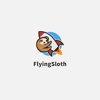 Ilustração do logotipo da preguiça e foguete