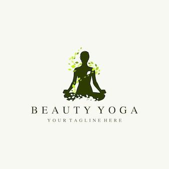 Ilustração do logotipo da silhueta da ioga das mulheres