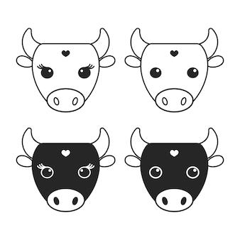 Ilustração do logotipo da vaca monocromática