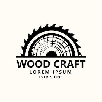 Ilustração do logotipo de carpintaria de artesão de carpintaria retrô vintage