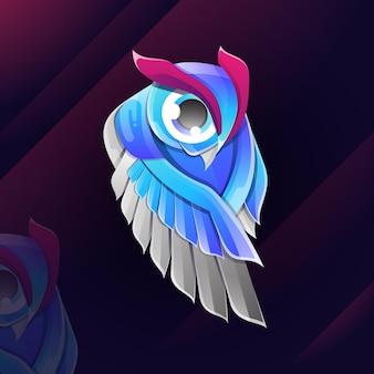Ilustração do logotipo de corujas touro gradiente colorido estilo