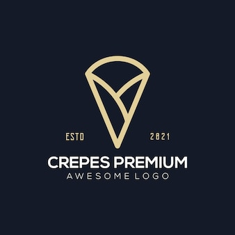 Ilustração do logotipo de crepes premium de luxo para sua empresa