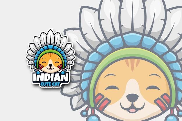 Ilustração do logotipo de desenho animado de gato fofo indiano