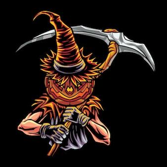 Ilustração do logotipo de jack o'lantern esport