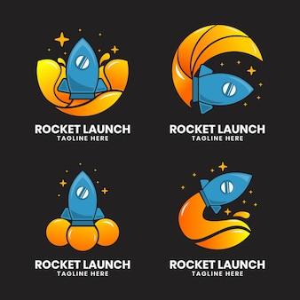 Ilustração do logotipo de lançamento de foguete