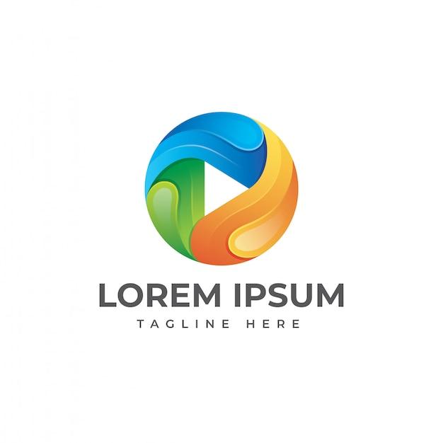 Ilustração do logotipo de mídia colorida