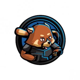 Ilustração do logotipo de panda vermelha