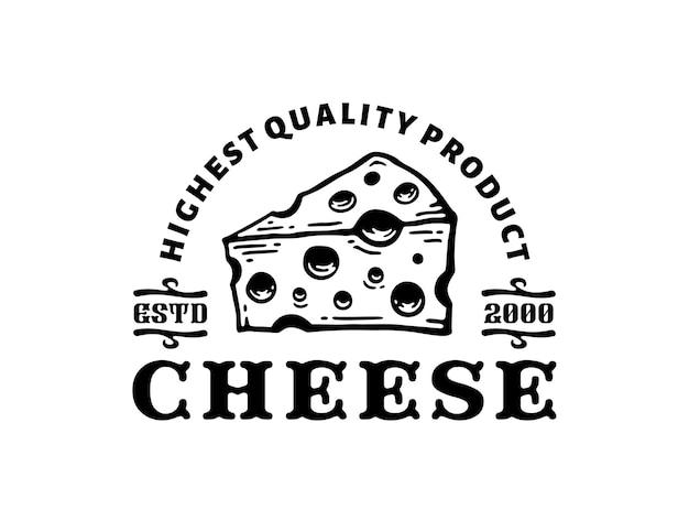 Ilustração do logotipo de queijo em design vintage
