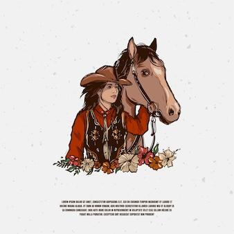 Ilustração do logotipo de vaqueira e cavalo