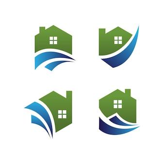 Ilustração do logotipo de vetor de imóveis em casa. apto para um agente imobiliário, construção, construção industrial.