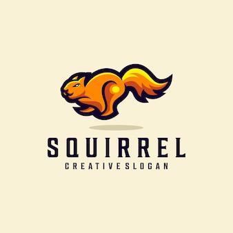 Ilustração do logotipo do animal moderno para corrida de esquilo