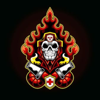 Ilustração do logotipo do bombeiro no fogo