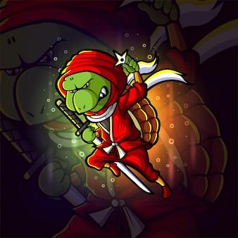 Ilustração do logotipo do caça ninja tartaruga esport