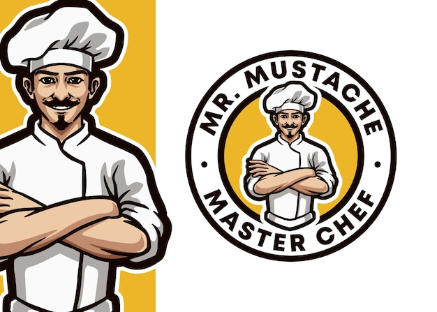 Ilustração do logotipo do chef profissional mascote