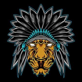 Ilustração do logotipo do chefe leão indiano