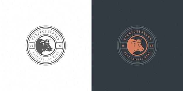 Ilustração do logotipo do churrasco conjunto churrascaria