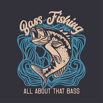 Ilustração do logotipo do clube de pesca do robalo largemouth em fundo azul