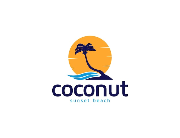 Ilustração do logotipo do coqueiro ao pôr do sol e da praia da ilha para férias ou conceito de férias